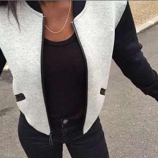 速歐美女裝針織配色衛衣抓絨開衫短款立領小外套