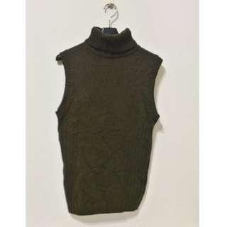 全新 ~ 香港製 品牌 YUJI YAMADA 綠色 套頭 無袖 毛衣 M ( 男女都可以穿 )