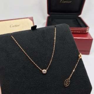 Cartier 卡地亞 18K玫瑰金鑽石 鎖骨鍊 頸鍊