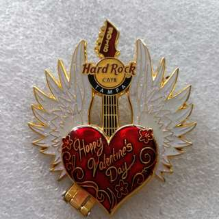 Hard Rock Cafe Pins ~ TAMPA HOTEL 2015 VALENTINE'S DAY HINGED HEART SHAPED GUITAR WITH ANGEL WINGS!