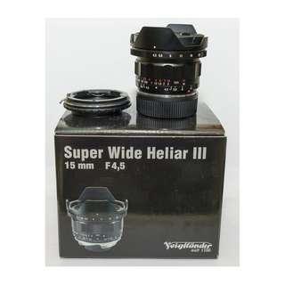 voigtlander 15mm f4.5 iii (附 LM鏡頭轉E機身 轉接環)