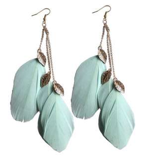 Bohemian Feather Earrings - green