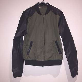 Khaki and leather bomber jacket