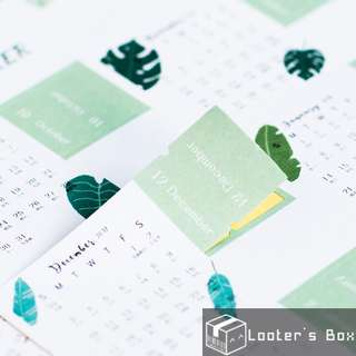 2018 Calendar Nature Leaf Index Bookmark Planner Sticker (V2397)