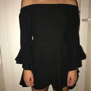 Black off the shoulder jumpsuit