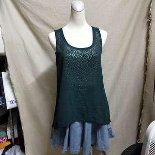 [二手]墨綠色雪紡背心