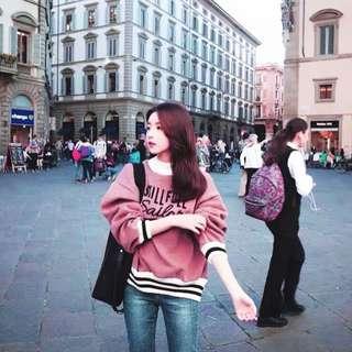 《冬季新款》韓版厚磅刷毛半高領寬鬆長袖T恤