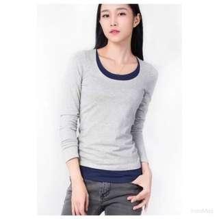 《冬季強力推薦款》灰色假兩件長袖棉T