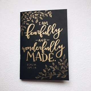Customized / Personalized + Modern Calligraphy Styled Text Notebook
