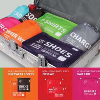 Travel zip pouches bright colours