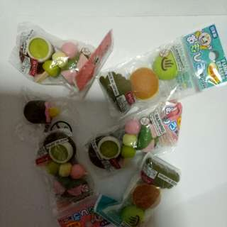 Food toy erasers 5pkts