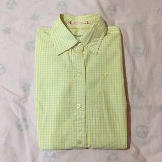 AMERICAN EAGLE(AE) 正版女版長袖襯衫(黃)