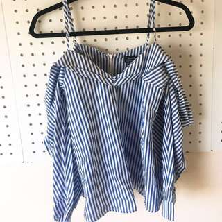 BARDOT BLUE&WHITE SHOULDER TOP