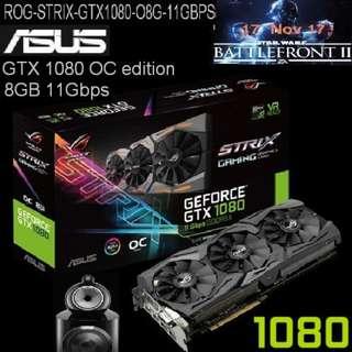 ASUS ROG Strix GTX 1080 OC edition 8GB 11Gbps GDDR5X.