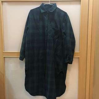 Planet行星購入格子長版襯衫洋裝(厚)