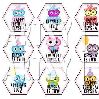 Owl Design Toppers - Cupcake / Cake
