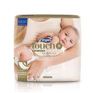 4 x Drypers Touch S 70s (3-7kg) - Can be for NB