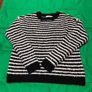 Mango黑白條紋毛衣