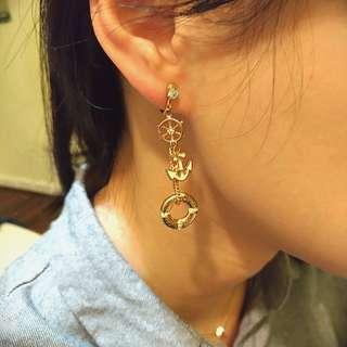 海洋風金色耳環