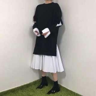 全新現貨》復古小姐 假兩件長款氣質文青小清新 洋裝