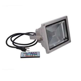 #5. 20W 16RGB Choice by Remote LED Flood Light with 3-Plug