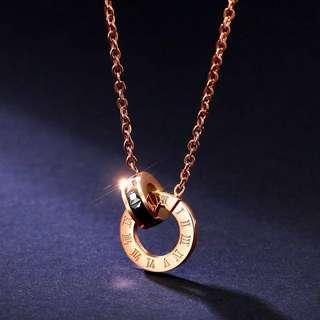Ready stock fashion necklace 现货 玫瑰金罗马数字双环项链
