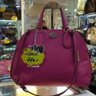Coach Pink Leather Shoulder Crossbody Hand Bag 粉紅色 皮 皮革 小手袋 手袋 肩袋 斜揹袋 斜背袋 袋