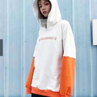 中國有嘻哈 JONY J 同款拼接拼色連帽衫 男女寬鬆衛衣白橘色 有加絨