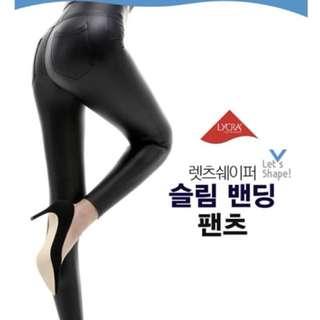 預購:韓國 Mizline 2017 冬季新款絨毛珠光霧面皮褲
