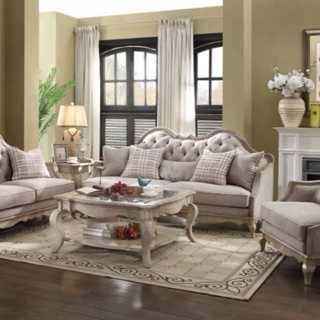 3pcs Classic Country Beige Fabric & Antique Taupe Sofa Set
