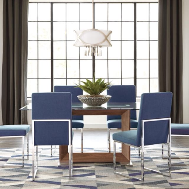 7pcs Modern Glass Table & Neutral Blue Chair Dining Set