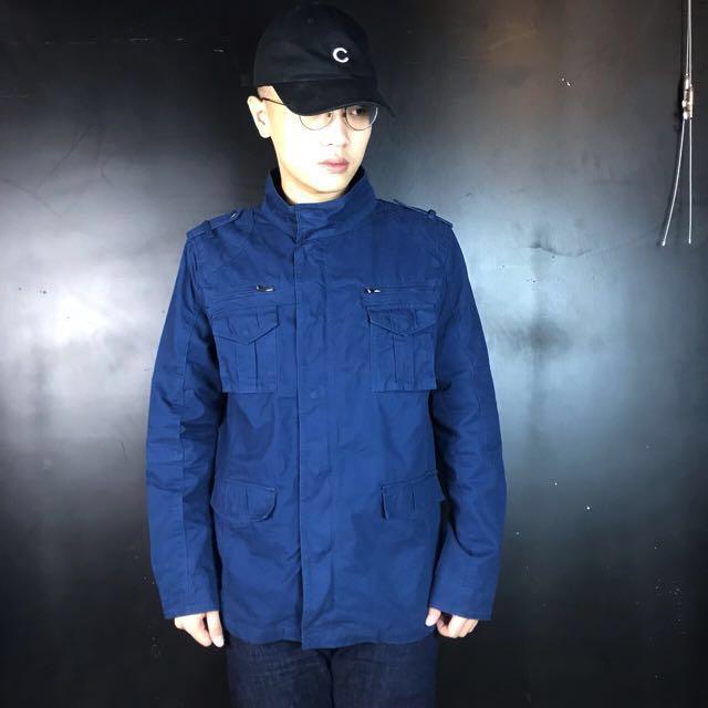 第二件六折*新品深藍色多口袋立領工裝夾克