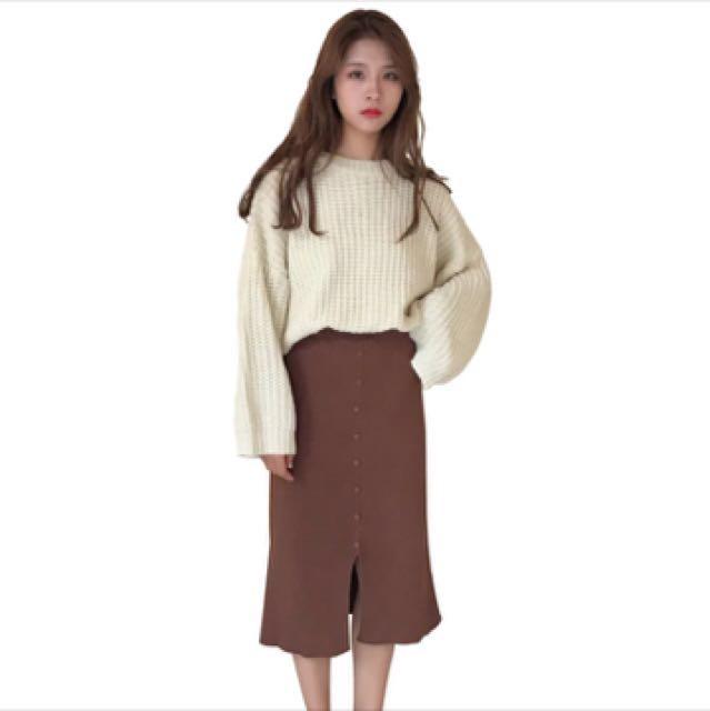 韓版寬鬆粗線米白色針織上衣