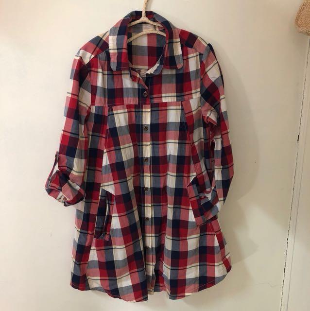 紅藍格子長版襯衫洋裝傘狀兩種穿法
