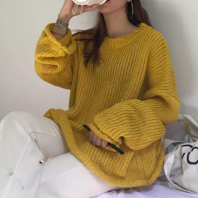 芥黃色針織上衣