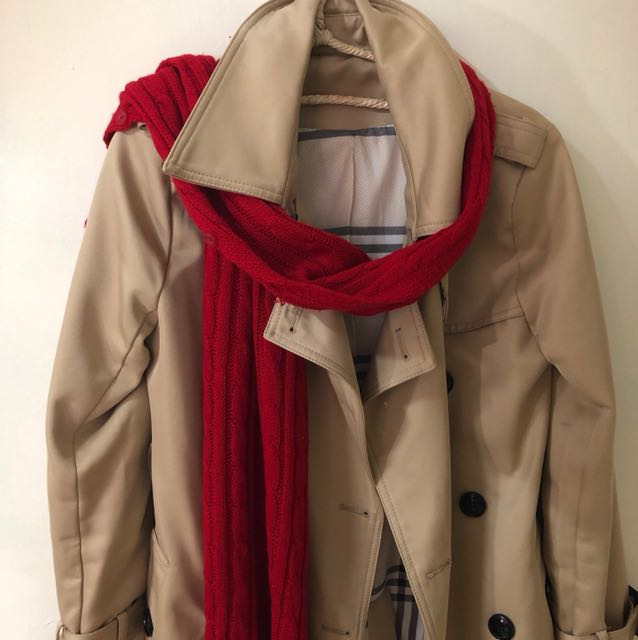 紅色素色兩種用法圍巾可變小外套辦公室保暖