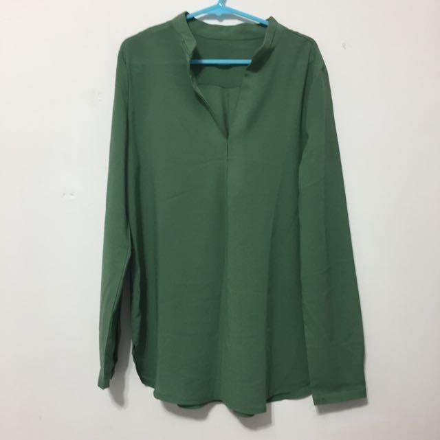 綠色雪紡襯衫