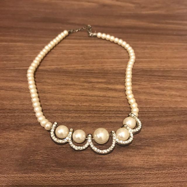 珍珠鑲鑽項鍊