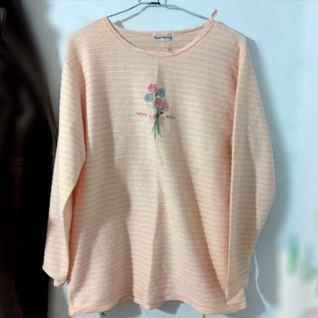 🔴私物🔴橘粉膚條紋康乃馨上衣