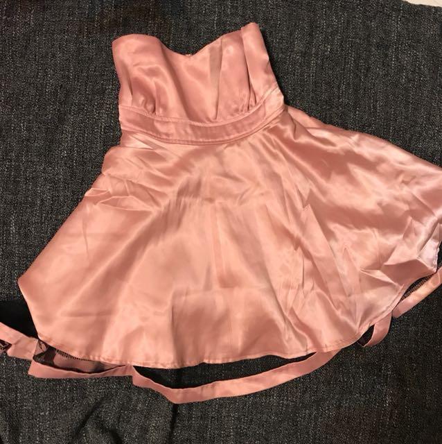 淺粉平口禮服洋裝