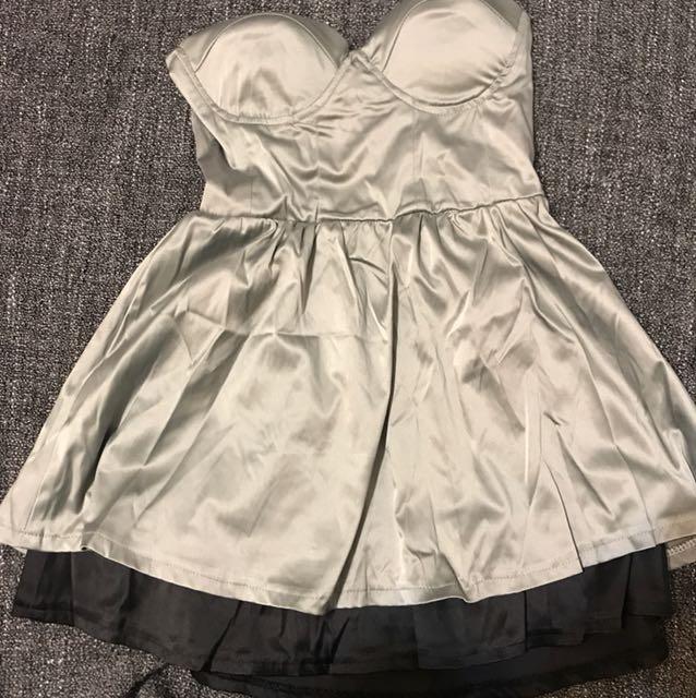 灰黑時尚平口禮服洋裝