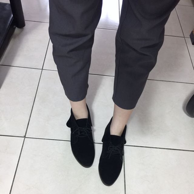 台灣製小精靈麂皮綁帶裸靴短靴