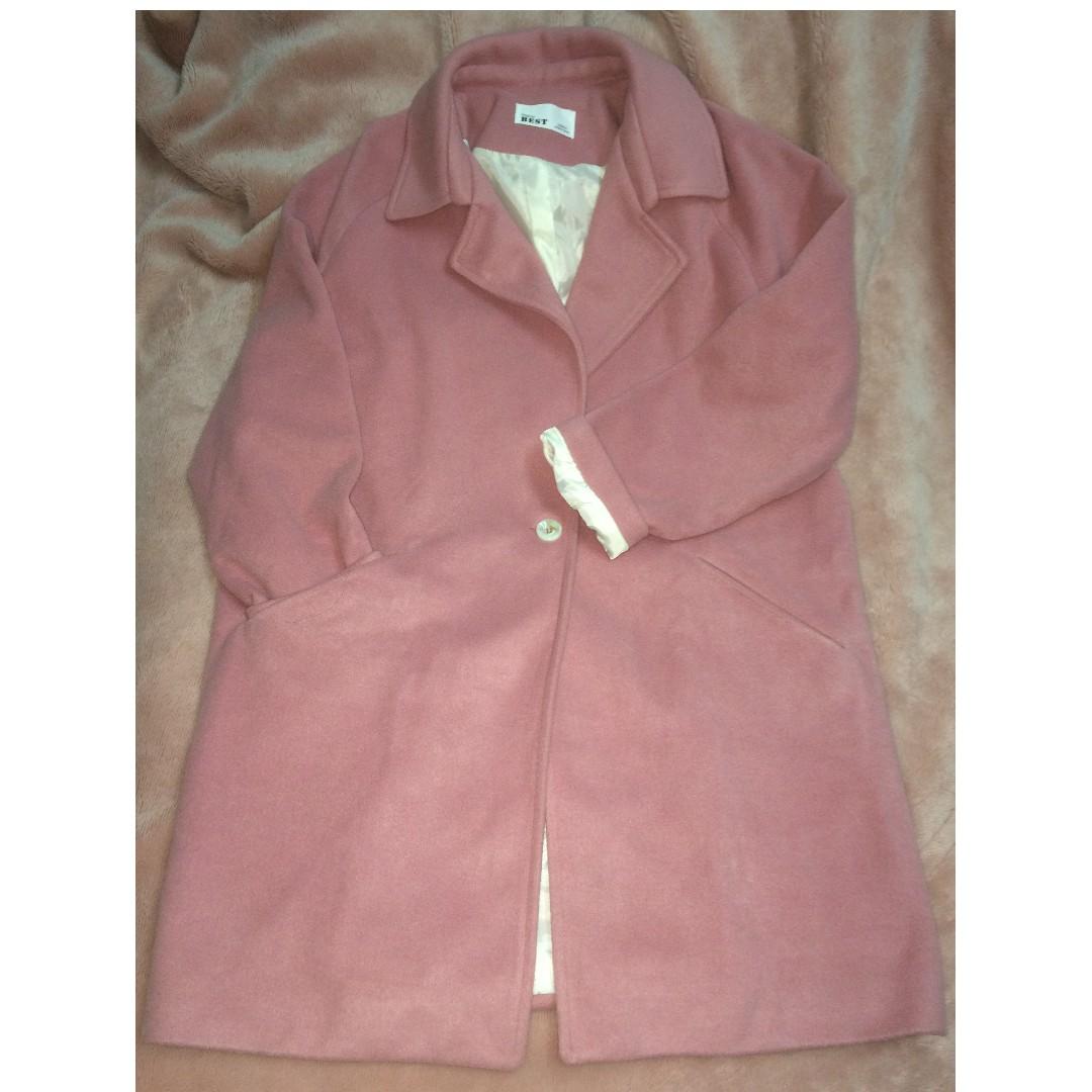 正韓-乾燥玫瑰色大衣,材質有少許羊毛