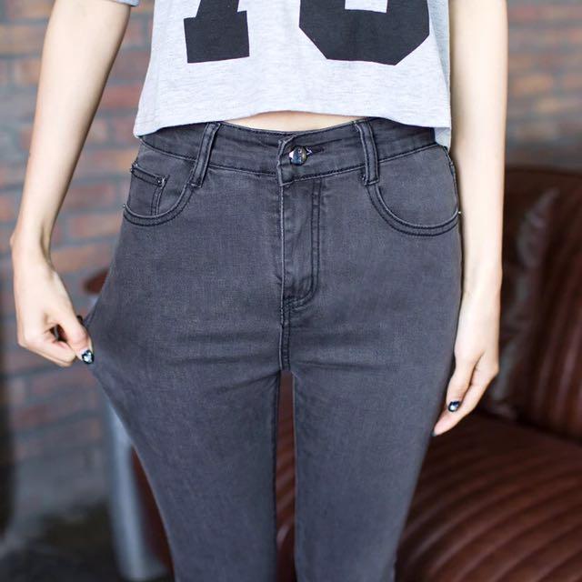 新款高腰黑色灰色牛仔褲,女韓版顯瘦鉛筆長褲
