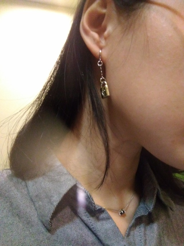 純銀鎖頭小花長耳環