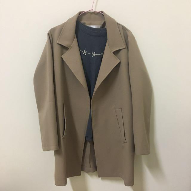 韓國購入 駝色中長版西裝外套