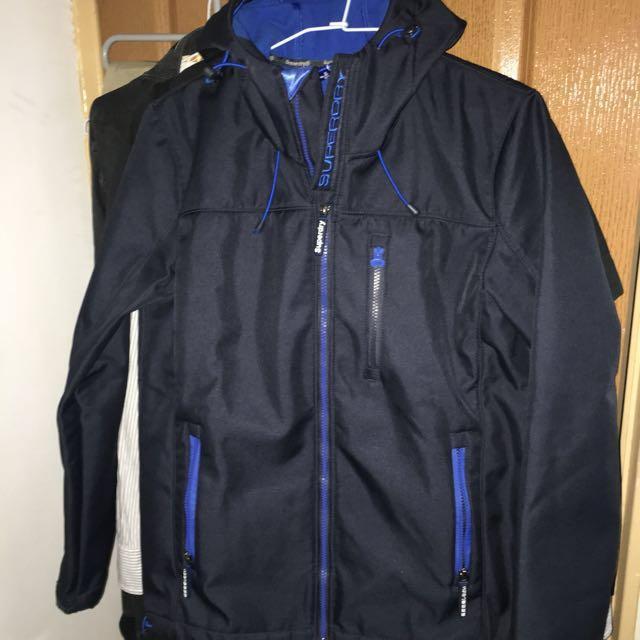 二手美品 極度乾燥 superdry windtrekker 深藍色 防風外套 單拉鍊 保暖外套 內刷毛 M號