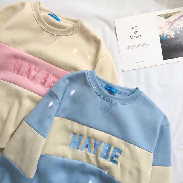 韓版 粉嫩色系撞色刷毛上衣 大學T $480 粉 藍