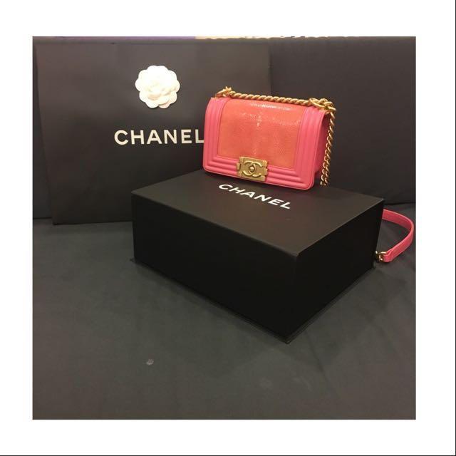 《含運》香奈兒 BOY CHANEL20 珍珠魚皮金鏈條包(牛皮)-粉紅色#boychanel 100%正品!#運費我來出