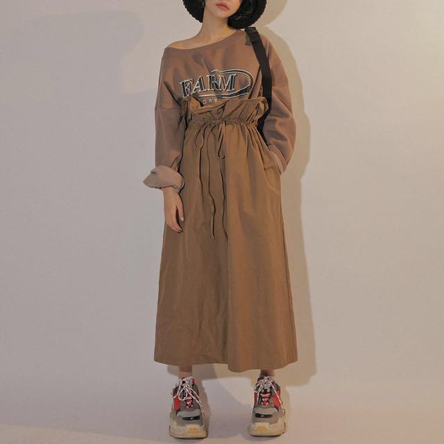 全新韓國 Stylenanda 高腰裙 3xs 韓貨 裙子 長裙 過膝裙 中長裙 韓版 卡其色 杏色 咖啡色 駝色